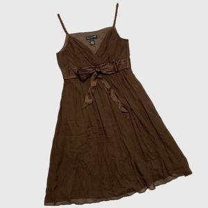 Jones New York Brown Silk Chiffon Dress sz 8